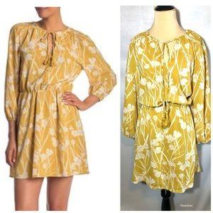 NEW Lush Gold ivory print dress sz large